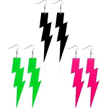 3 Pairs 80s Neon Earrings Pendant Retro Acrylic Drop Dangle for Women 80 s Party