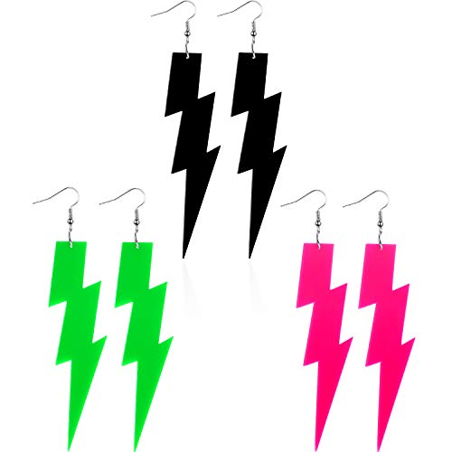 3 Pairs of 80s Neon Pink, Green and Black Lightning Bolt Earrings
