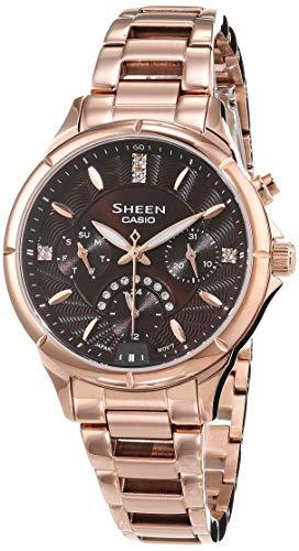 CASIO Damen Analog Quarz Uhr mit Edelstahl Armband SHE-3047PG-5AUER