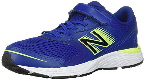 New Balance unisex child 680 V6 Alternative Closure Running Shoe, Marine Blue/Lemon Slush/Black, 2.5 Wide Little Kid US