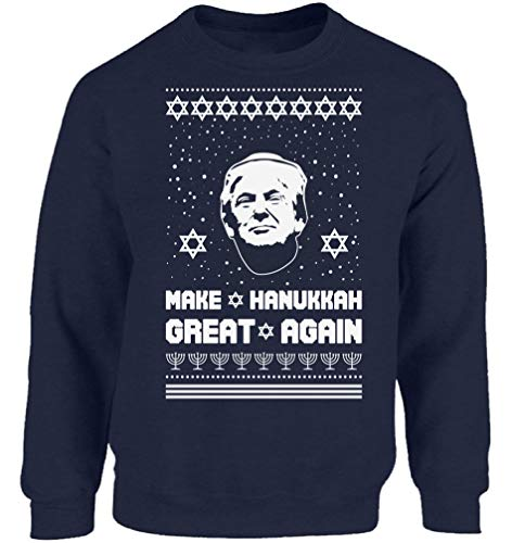 Vizor Ugly Xmas Sweatshirt Christmas Make Hanukkah Great Donald Trump Christmas Sweater Navy S