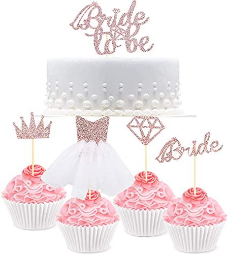 Bride Cake Topper -simyron 13 Pcs Cake Topper Sposa Cake Rose Gold Pink Glitter Sposa Crown Bride 3D Wedding Dress Toppers Cupcake per Addio al Nubilato Brilliant