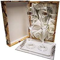 CRISTALERIA BOHEMIA 2 Copas de champán fuhcia para Novios, Bodas de Plata/Oro, Aniversarios, colección ALIANZAS, Aplique bilaminado. (50 Bandeja Oro, Vidrio)