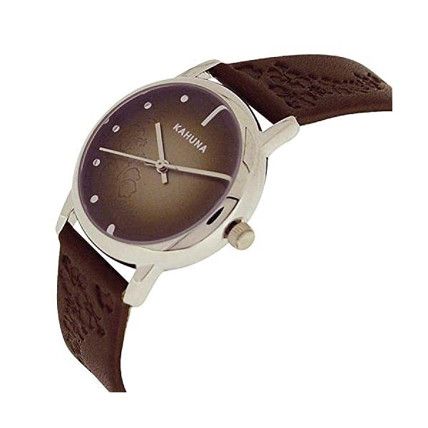 Kahuna Ladies Analogue Dial Genuine Leather Brown Flowery Strap KLS-0303L