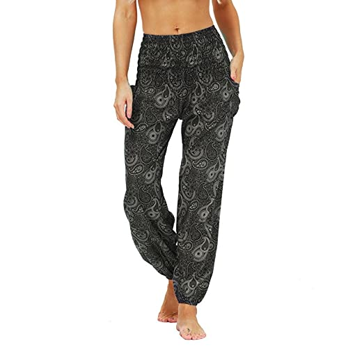 QTJY Pantalones Casuales de Moda para Mujer, Pantalones Harem Sueltos, Pantalones Hippie Bohemios, Pantalones de Yoga Suaves con Cintura levantada Pula fluidos, R S