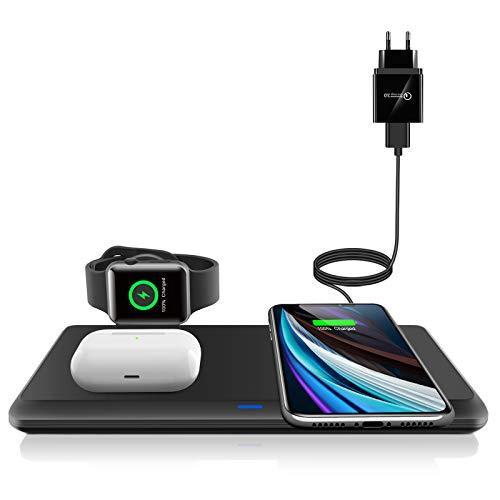 LECHLY Kabelloses Ladegerät, Qi-Zertifiziert, Wireless Charger 3 in 1 für Apple Watch, AirPods Pro ladestation, 7.5W für iPhone 11/11pro/Se/XS/XR/Xs Max/8, Samsung Galaxy S20/S10 (Mit QC 3.0 Adapter)