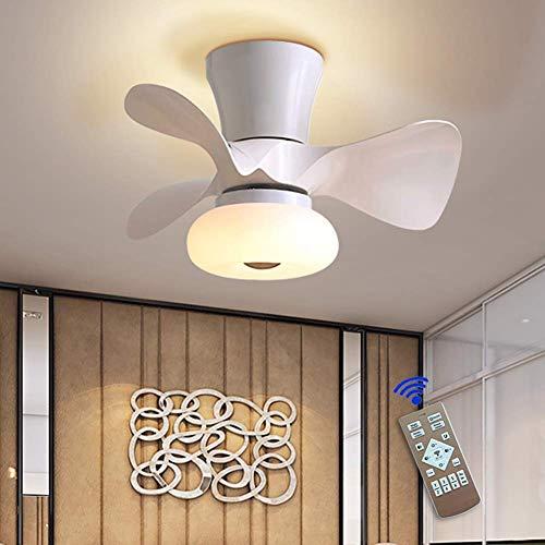 Ventilador de techo invisible LED, lámpara de techo, moderna, 64 W, regulable, con mando a distancia, para salón, dormitorio, habitación de los niños, silencioso, iluminación 55 cm, color blanco