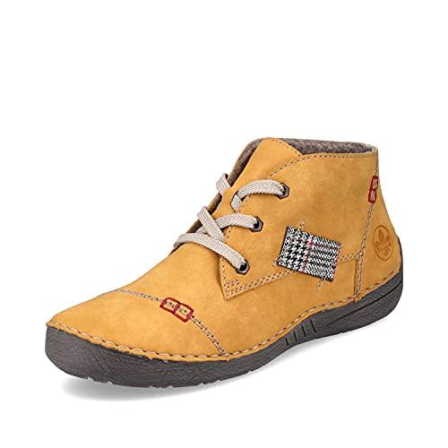Rieker Femme Chaussures à Lacets 52543, Dame Chaussures Confortables,Chaussure Basse Confort,Lacets,Confortable,Jaune (Gelb / 69),40 EU / 6.5 UK
