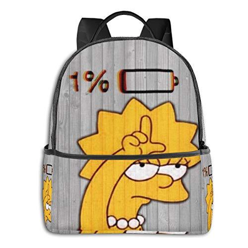 """Cartoon Simpsons Mochila escolar para hombres y mujeres, se adapta a 14.5"""", ligera bolsa de viaje, mochila versátil"""
