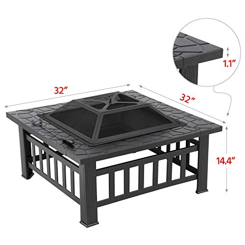Yaheetech Multifunctional Fire Pit Table 32in Square Metal Firepit Stove Backyard Patio Garden Fireplace for Camping, Outdoor Heating, Bonfire and Picnic