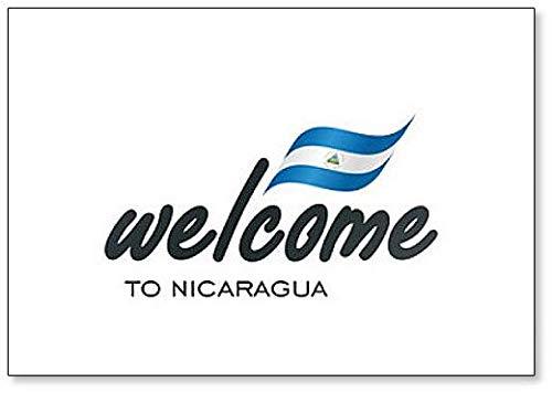 Kühlschrankmagnet, Motiv: Welcome to Nicaragua mit Flagge