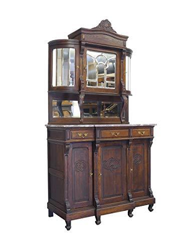 Antiker Buffet Schrank mit Rundbogen um 1900 aus Eiche | Küchenschrank Küchenbuffet | 3-türig 3 Schubladen | B: 120 cm (9746)