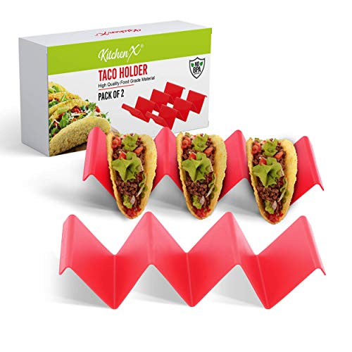 KitchenX Premium Taco Holders Pack of 2 -Taco Stand Holds Up To 3 Taco Shells Each - Sturdy, Dishwasher and Microwave Safe, Taco Plates Size: 8.2 x 3.9 x 2 inches