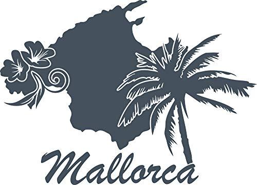 GRAZDesign Muurtattoo Mallorca - Wandsticker Deco Sticker Eiland Spanje 79x57cm 841 Blue Grey