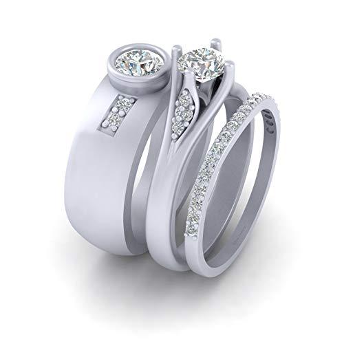 Juego de anillo de compromiso de plata de ley 925 maciza con diamantes a juego para él y su aniversario