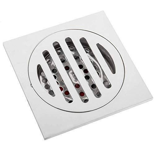PrimeMatik - Sumidero sifónico 10x10cm con válvula de 6 cm y Rejilla extraíble de Acero Inoxidable Brillante