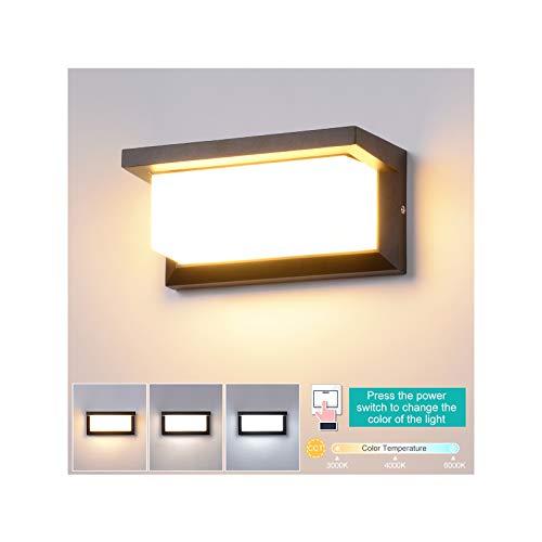 18 W led-wandlamp, voor binnen en buiten, waterdicht, IP65, instelbare kleurtemperatuur 3000 K-6500 K, buitenlamp, driekleurige wandlamp voor slaapkamer, woonkamer, hal en tuin