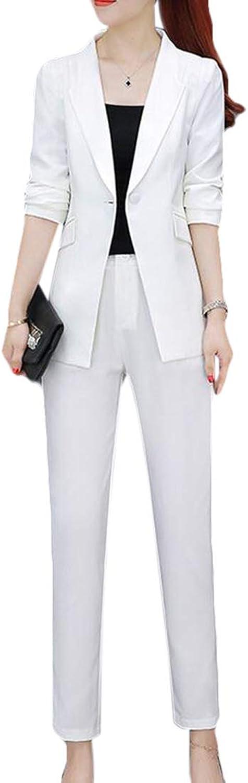 BYWX Women 2 Piece Business Slim Fit Suits Set Blazer Jacket Pants