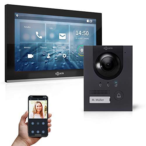 Goliath Hybrid | IP | Full-HD Video Türsprechanlage | App | 1-Fam | 1 x Full-Touchscreen 25,4 cm (10') | Aluminium Aufputz Türstation | 180° Ultra-Weitwinkel | AV-IPS-107
