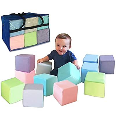 Brite Tools Soft Foam Building Blocks Cubes, 5.5-Inch Blocks Shapes Stacking Building Playset Lightweight for Toddlers, Children Crawling, Sliding Baby Toys (12 Piece Pastel)