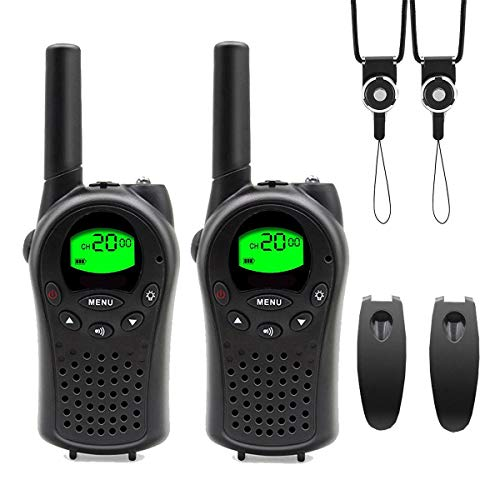 Walkie Talkie Radio with VOX Handfree Function, No License Required, Specified Small Power Transceiver, Set of 2, Power Saving, Portable, Easy Operation, Black