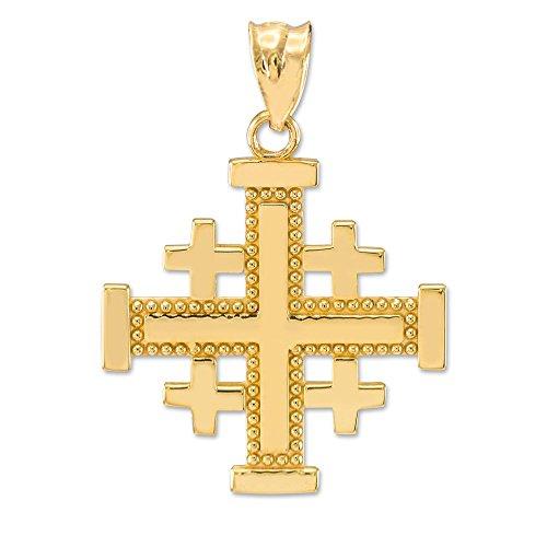 Masonic Jewelry (Freemason) Polished 10k Yellow Gold Crusaders Jerusalem Cross Pendant