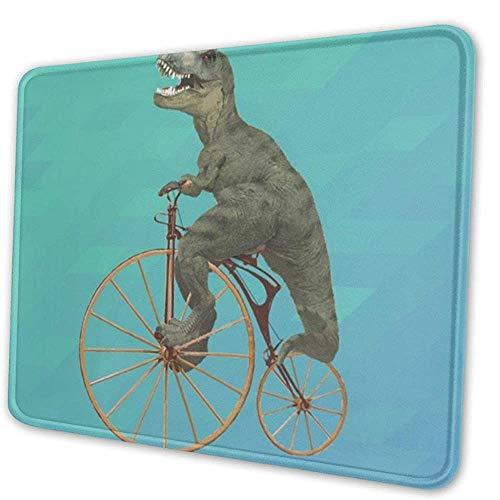 Mausemat Dinosaurier Fahrrad Tyrannosaurus Rex Radfahren Rutschfester Laptop Mousepad Schule Rechteck Bürozubehör Spielmatte Gummicomputer Schreibtisch Dekor 3 Größen Benutzerdefi 20X24cm