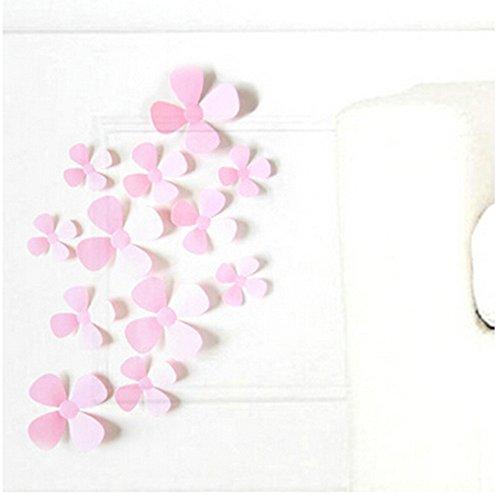 PVC Fleur Stickers 3D Stickers muraux Home Decor Affiche pour Les Chambres d'enfants Adhésif à la décoration Murale, Rose