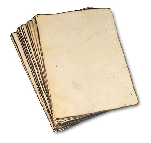Papel en Blanco Antiguo Hecho a Mano con Borde Ligeramente Quemado, Paquete de 50, A4, Hojas Sueltas de Papel de Acuarela para Escritores, Invitaciones - 21x30 cm, Papel Reciclado Pesado de 130 g/m2