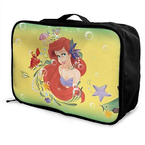 Little Mermaid Bolsa de viaje Paet plegable impermeable ligero portátil de alta capacidad para llevar en Lage bolsas