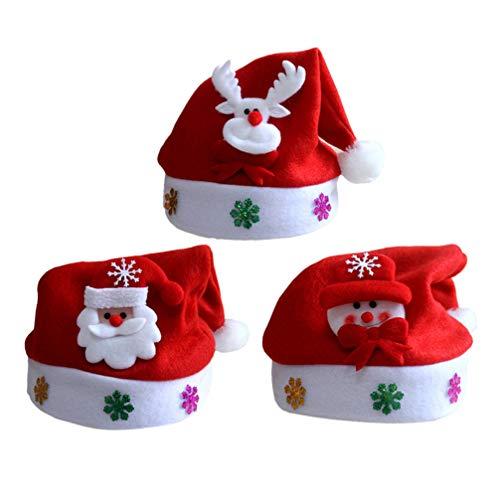 Amosfun 3pcs Weihnachtsmann Mütze Partyhut Schneemann Rentier Weihnachten Kostüm Requisiten