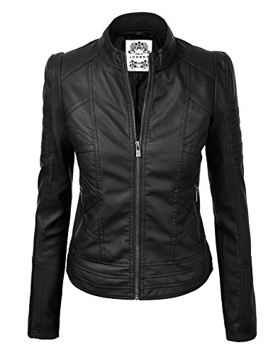 MBJ WJC746 Womens Vegan Leather Motorcycle Jacket S BLACK
