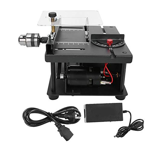 Table Saw Cutting Set 7.5x6.3x3.9in Mini Hobby Table Saw with 35MM Cutting Depth, Lathe Polisher Drilling Machine for DIY Woodworking Jade(US Plug 110‑240V)
