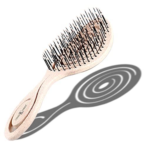Chiara Ambra Haarbürste, Klimaneutrale Bio Haarbürste ohne Ziepen mit Stroh, Kopfhautmassagebürste, Entwirrungsbürste gegen Haarausfall und Anti-Frizz für gesunde Haare