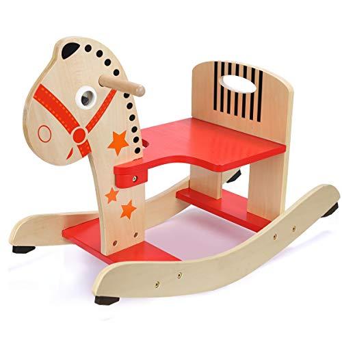 Jouets pour poussettes Petit Cheval de Troie Enfant secouer Cheval 1 an Cadeau bébé en Bois Chaise berçante bébé Jouet intérieur