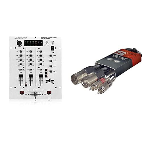 Behringer PRO MIXER DX626 3-Kanal DJ Mixer & Stagg STC060CMXM Twin-Kabel (60 cm, Cinch-Stecker-auf-XLR-Stecker)