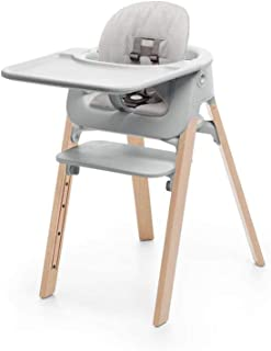 Stokke Steps Complete 5-in-1 Adjustable Baby High Chair Bundle, Natural Legs with Grey Seat and Grey Cushion (Includes Chair, Baby Seat with Harness, Cushion and Tray)
