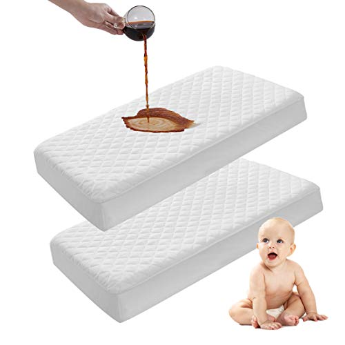 Kuzmaly 2 Pack Waterproof Crib Mattress Protector, Quilted Fitted Soft Breathable Bamboo Fiber Baby Waterproof Mattress Pad(Mini)