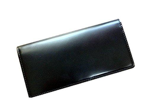 コードバン(馬尻革)×本ヌメ革 小銭入れ付長財布 (ブラック)