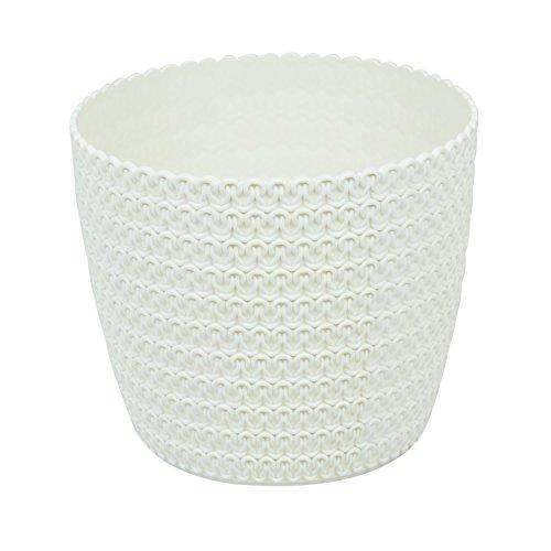 Blumentopf Kunststoff creme D 18,5 cm Muster Häkelkorb Deko Topf Blumenkübel