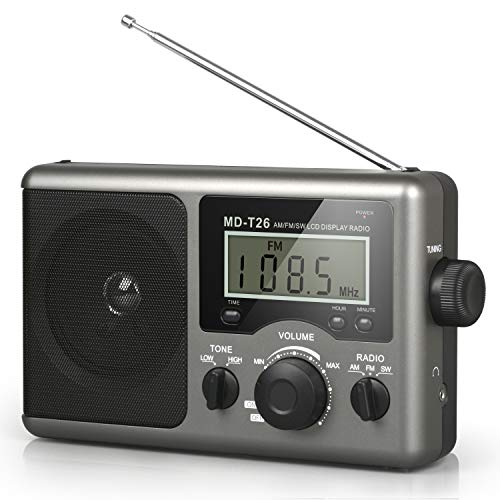 Portable AM FM Shortwave Radio,Battery Operated Radio by 4D Cell Batteries or AC Power Transistor Radio with LCD Display,Time Setting,3.5mm Earphone Jack,Big Speaker,High/Low Tone for Home,Gift
