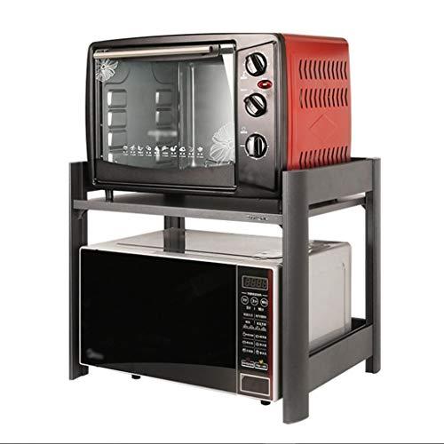 LIPENLI Cocina de Almacenamiento en Rack del Horno microondas Estante Permanente encimera de 2 neumáticos de aleación de Aluminio Gris, 58cm x 42cm x 45cm