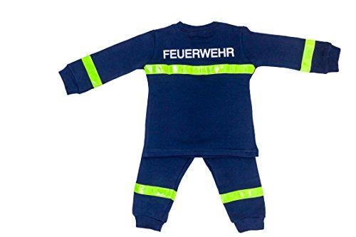 Ringelsuse - Schlafanzug Pyjama zweiteilig für Kinder, Kinderschlafanzug, Feuerwehrmann, Set mit langarm Shirt und langer Hose Größe 92 98 100% Baumwolle, aus Fairtrade Herstellung, blau