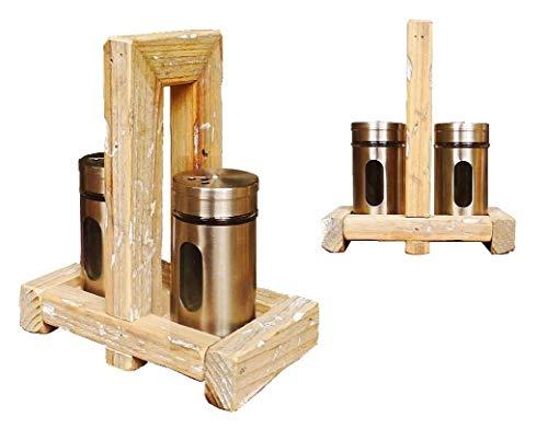 Salz- & Pfefferstreuer aus Kiefernholz |Pfeffer- und Salzset aus Kiefernholz mit 2 Töpfen | Höhe 19 cm |Braun, Silber| Dekorationsartikel für Haus und Garten |