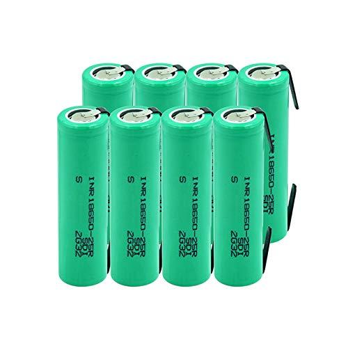 HTRN 3.7v 2500mah 18650-25r BateríAs De Iones De Litio De Litio, PTC De Descarga 20a Cargadas Protegidas con 2 PestañAs para Energía MóVil 8pieces
