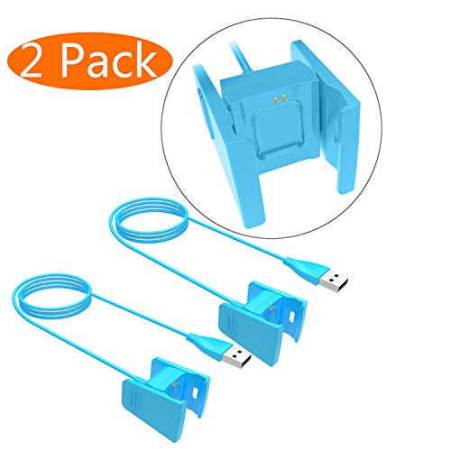 Fitbit Charge 2 Charger, KingAcc Replacement USB Charging Cable Cord Charger Cradle Dock Adapter for Fitbit Charge 2, Fitness Tracker Wristband Smart Watch (3.3Foot/1meter, 2-Pack, SkyBlue)