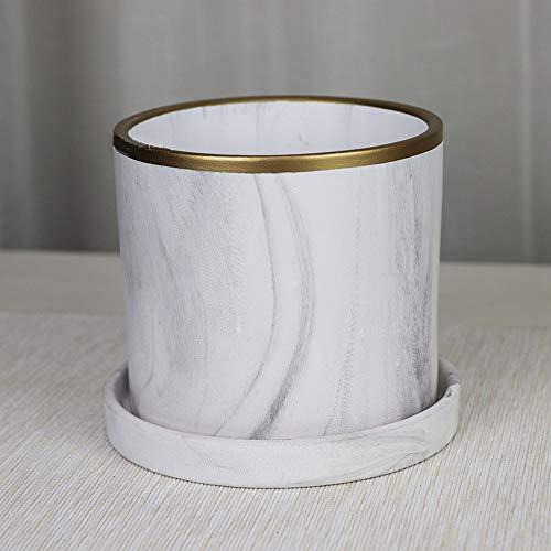 XHZJ Pot droit en céramique cylindrique rectiligne plaqué or marbré, blanc mat, pot en céramique cylindrique de table cylindrique non poreux, balcon avec jardinière verte, balcon sans jardinière verte