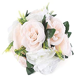 pack of 2 fake flower balls, 11 stem bunch of silk roses wedding table decoration flowers for wedding/party centerpiece road lead home decor (champagne & white) silk flower arrangements