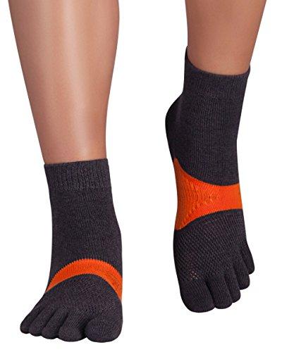 Knitido Sport-Zehensocken Marathon TS, Laufsocken mit Grip, Größe:43-46, Farbe:grau / orange (208)