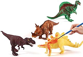 FEAYEA Crafts for Kids Ages 4-8 - 2 Decorate Your Own Dinosaur Figurines DIY Dinosaur Arts Crafts 3D Painting Dinosaurs Toys Wooden Arts- Kids Crafts and Arts Supplies Set Painting Kit